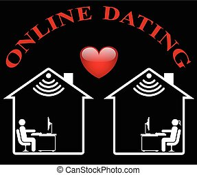 Online Dating - Representation of online dating isolated on...