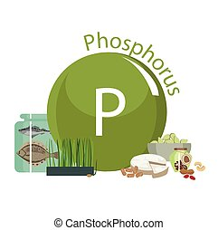 healthy food - Products rich with phosphorus. Bases of...