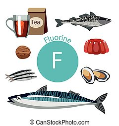 healthy food - Food rich with fluorine. Natural organic...