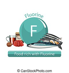 healthy food - Food rich with fluorine. Composition from...