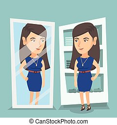 Caucasian woman trying on dress in dressing room. - Young...
