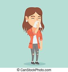 Young caucasian sick woman sneezing. - Young caucasian woman...