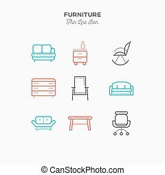 Furniture, sofa, table, chair, curbstone and more, thin line...