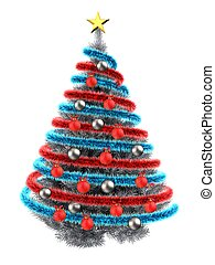 3d with tinsel blue - 3d illustration of metallic Christmas...