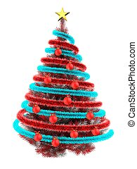 3d tinsel - 3d illustration of red Christmas tree over white...