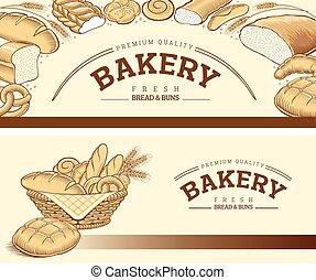 Bakery food item bread, baguette in basket - Bakery food...
