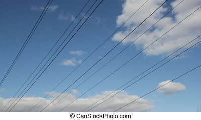 Power lines with gentle timelapse. - Electric power lines...