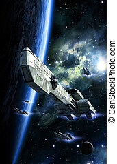Spaceship gunship and fighters 3D render science fiction...