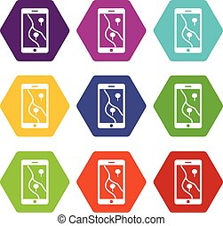 Smartphone with GPS navigator icon set color hexahedron -...