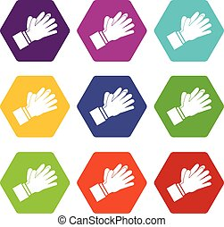 Clapping applauding hands icon set color hexahedron -...