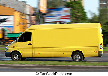 Yellow van - Yellow speeding van with space for text