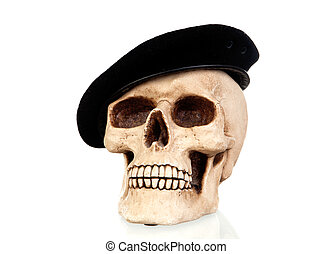 Creepy skull with a black beret isolated on white background...