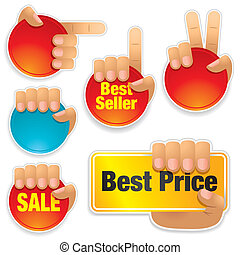 Buttons, Labels - Hands holding buttons and labels, visit my...