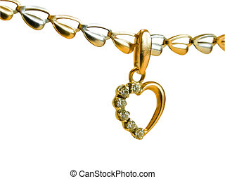 gold heart-shaped pendant on a chain - female golden...