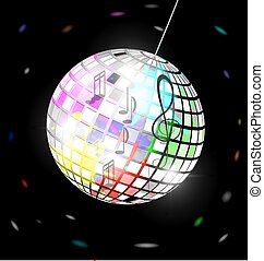 abstract colored disco ball - black background and abstract...