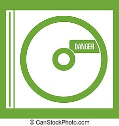 CD with danger lettering icon green - CD with danger...
