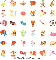 Children icons set, cartoon style - Childrenccons set....