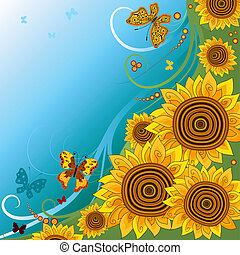 Spring background with sunflowers - Spring bright background...