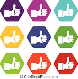 Thumb up gesture icon set color hexahedron - Thumb up...