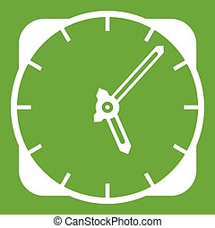 Watch icon green - Watch icon white isolated on green...