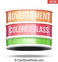 Round glass panel for advertising - Round colored glass...
