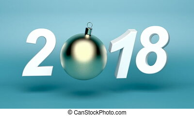Happy New Year 2018, animation with Christmas ball