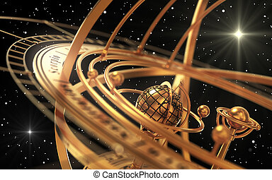 Armillary Sphere And Stars On Black Background. 3D...