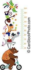 Funny circus animals. Meter wall or height chart - Funny...