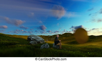 Grandfather resting on green meadow, sunrise, panning