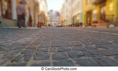 Old town street in retro colors - Creative abstract urban...