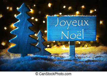 Blue Tree, Joyeux Noel Means Merry Christmas - Sign With...