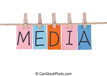 Media, Colorful words hang on rope by wooden peg