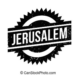 Jerusalem rubber stamp. Grunge design with dust scratches....