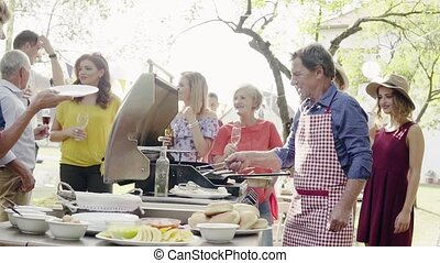 Family celebration or a barbecue party outside in the...