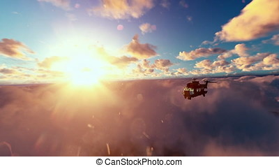 Military helicopter flying above clouds at sunset