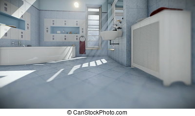 Modern bathroom interior, camera tilt