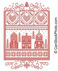 Christmas Scandinavian, Nordic style winter stitching, pattern including snowflake, heart, winter wonderland village, gingerbread house, church, Christmas tree, snow in red, white in rectangle frame