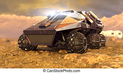 Mars Rover Space Travel. 3D rendering - Mars Rover Space...