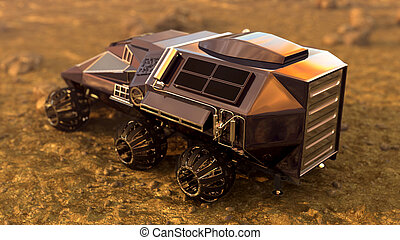 Mars Rover Space Travel. Cargo ares, 3D rendering - Mars...