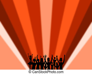Striped red background, music people