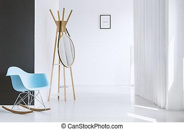 Modern blue rocking chair - Minimalist white hall of modern...