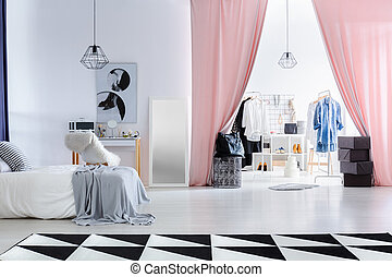 Fashionable bedroom with dressing room - Fashionable bedroom...