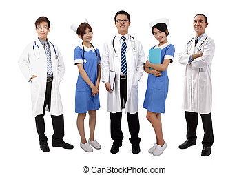 Asian medical team Doctors and Nurses standing with white...