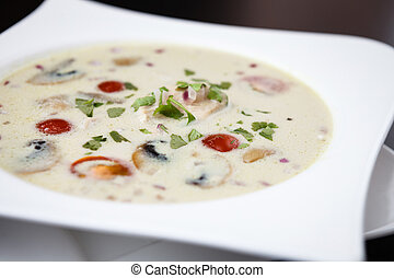 Tom Kha Soup - Coconut milk with chicken. Traditional thai...