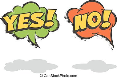 Speech bubbles YES and NO. Vector comic book elements. -...