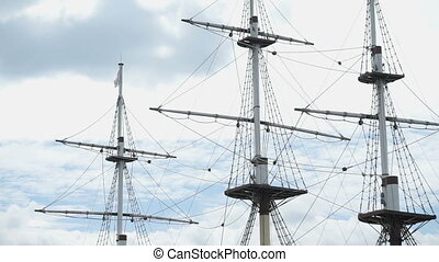 Close up of three masts of frigate - Beautiful seascape -...