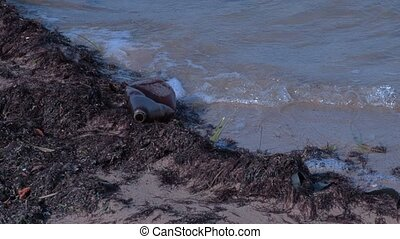 Plastic bottle on polluted coast by the sea