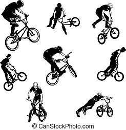 bmx stunt cyclists sketch collection - vector