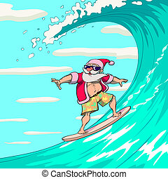 Surfing Santa Claus - Happy Santa Claus is surfing on a sea...