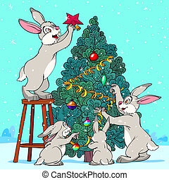 Hare Pine Tree - Family of rabbits is decorating a Christmas...